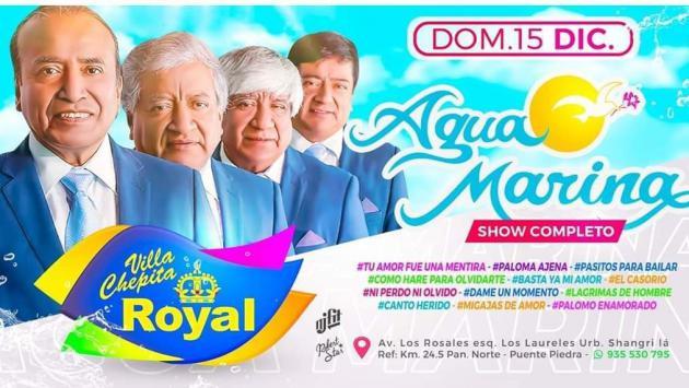 ¡Agua Marina este 15 de diciembre en Chepita Royal!