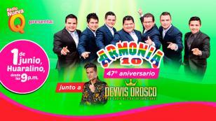 Armonía 10 celebrará su aniversario en el Huaralino con Deyvis Orosco