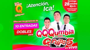 ¡Estos son los afortunados ganadores para el concierto QQQumbia con el Grupo5 en Ica!