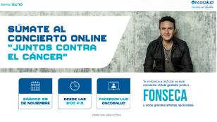 """Fonseca realizará conciertogratuito """"Juntos Contra el Cáncer"""" para el Perú"""