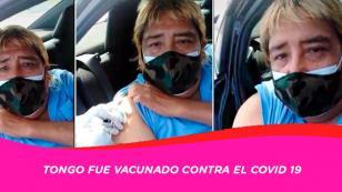 """Tongo recibe vacuna contra covid 19 y se puso a cantar """"la pituca"""""""